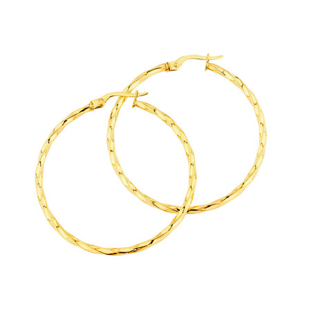 38mm Square Twist Hoop Earrings in 10ct Yellow Gold