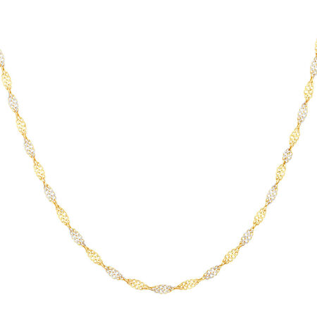"45cm (18"") Singapore Chain in 10ct Yellow & White Gold"