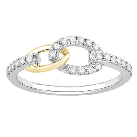 Ring with 0.25 Carat TW of Diamonds in 10ct Yellow Gold & Sterling Silver
