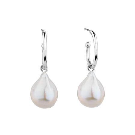 Hoop Earrings with Cultured Freshwater Pearls in Sterling Silver