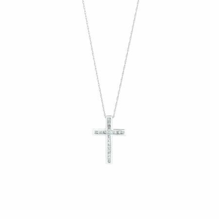 Cross Pendant With 1/4 Carat TW of Diamonds in 10ct White Gold