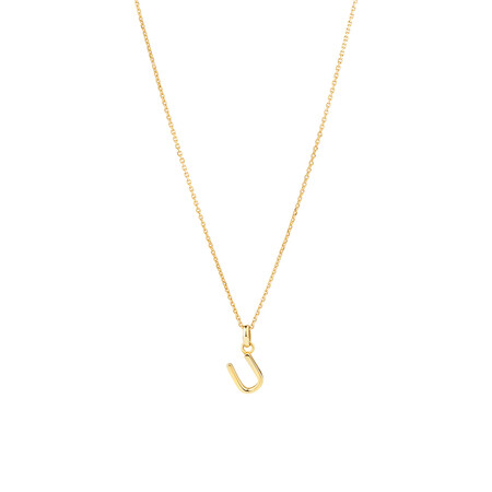 """""""U"""" Initial Pendant with Chain in 10ct Yellow Gold"""
