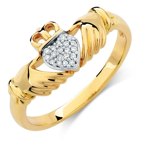 Claddagh Ring with Diamonds in 10ct Yellow Gold