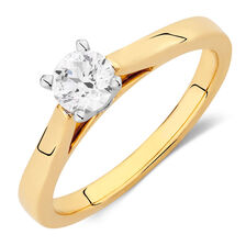 Online Exclusive - Certified Solitaire Engagement Ring with a 0.45 Carat Diamond in 14ct Yellow & White Gold