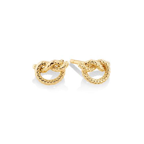 Overhand Rope Knot Earrings in 10ct Yellow Gold
