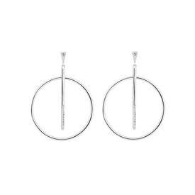 Earrings with White Cubic Zirconia in Sterling Silver