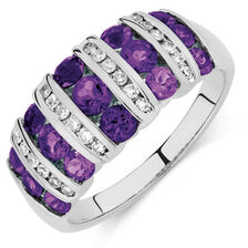 Ring with Amethyst & 0.21 Carat TW of Diamonds in 10ct White Gold
