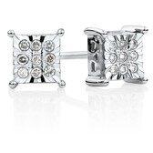 Online Exclusive - Square Stud Earrings with Diamonds in Sterling Silver
