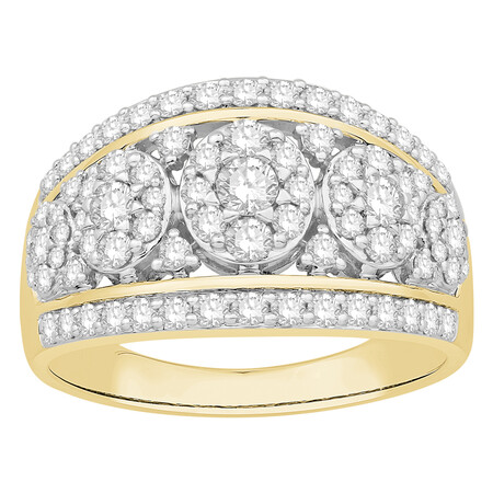 Cluster Ring with 1.00 Carat TW of Diamonds in 10ct Yellow Gold