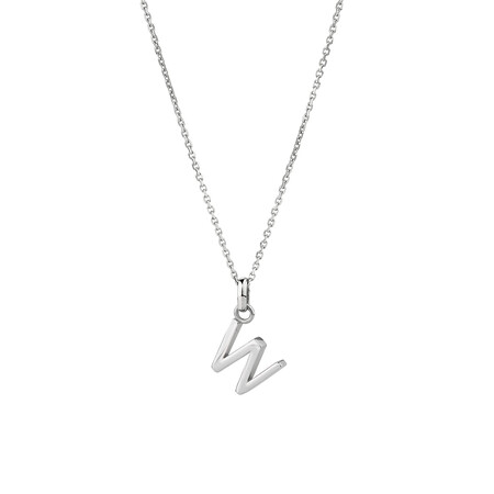 """""""W"""" Initial Pendant in Sterling Silver"""