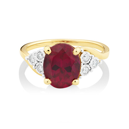 Ring with Created Ruby and Diamonds in 10ct Yellow Gold