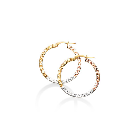 Flat Round Hoops in 10ct Yellow, White & Rose Gold