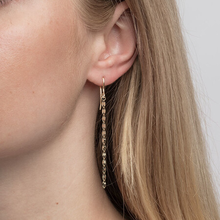 Strand Drop Earrings in 10ct Yellow Gold