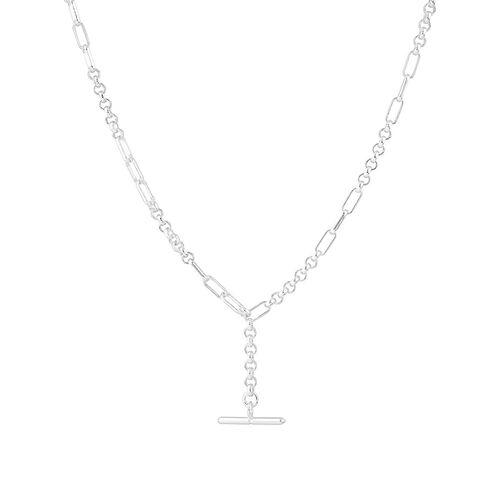 45cm Belcher T-bar Fob Chain in Sterling Silver