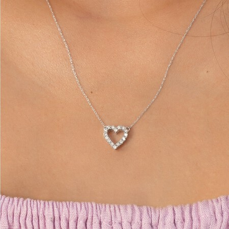 Heart Pendant with 0.25 Carat TW Diamonds in 10ct White Gold