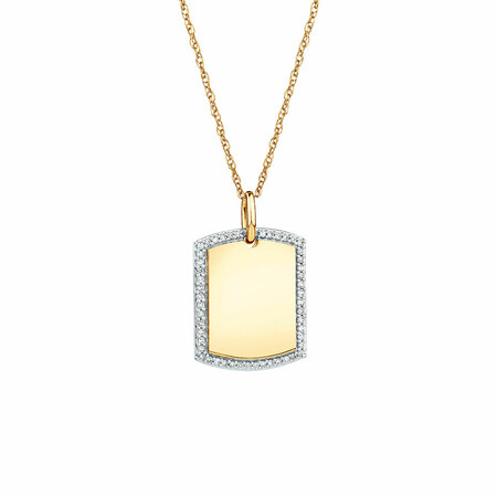 Rectangular Frame Pendant With Diamonds In 10ct Yellow Gold