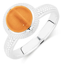 Orange Cats Eye Stack Ring