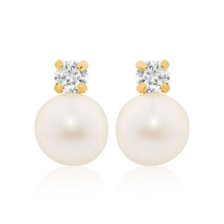 Drop Earrings with Cultured Freshwater Pearl in 10ct Yellow Gold