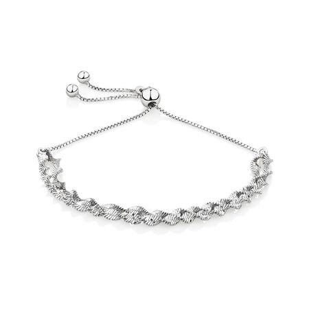 Adjustable Singapore Twist Bracelet in Sterling Silver