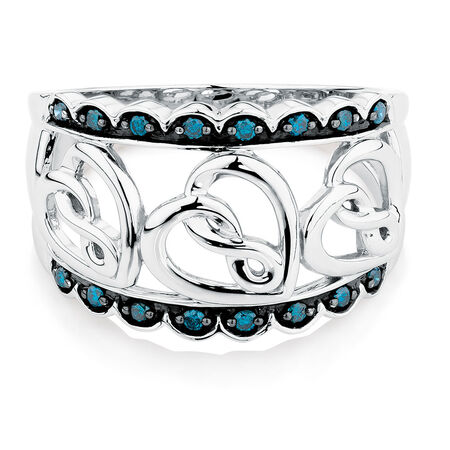 Infinitas Ring with 0.15 Carat TW of White & Enhanced Blue Diamonds in Sterling Silver