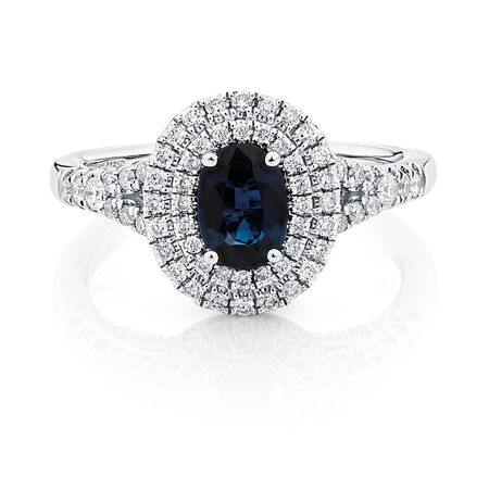 Michael Hill Designer Ring with Sapphire & 1/2 Carat TW of Diamonds in 14ct White & Rose Gold