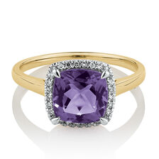 Square Ring with Amethyst & Diamonds in 10ct Yellow Gold