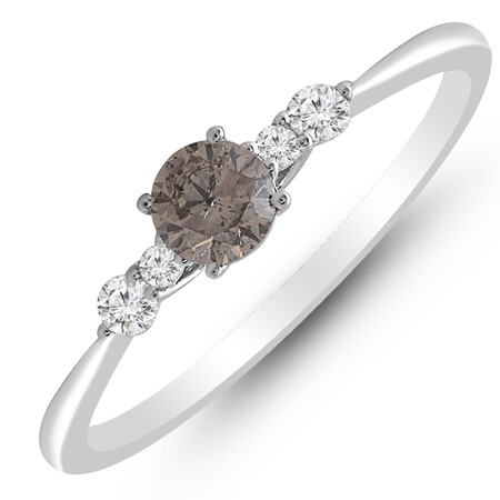 Ring with 0.33 Carat TW of White & Brown Diamonds in 10ct White Gold