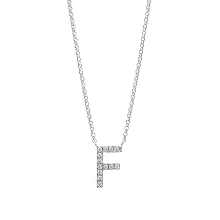 """""""F"""" Initial necklace with 0.10 Carat TW of Diamonds in 10ct White Gold"""