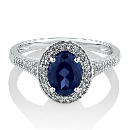 Halo Ring with Created Sapphire & 0.15 Carat TW of Diamonds in 10ct White Gold