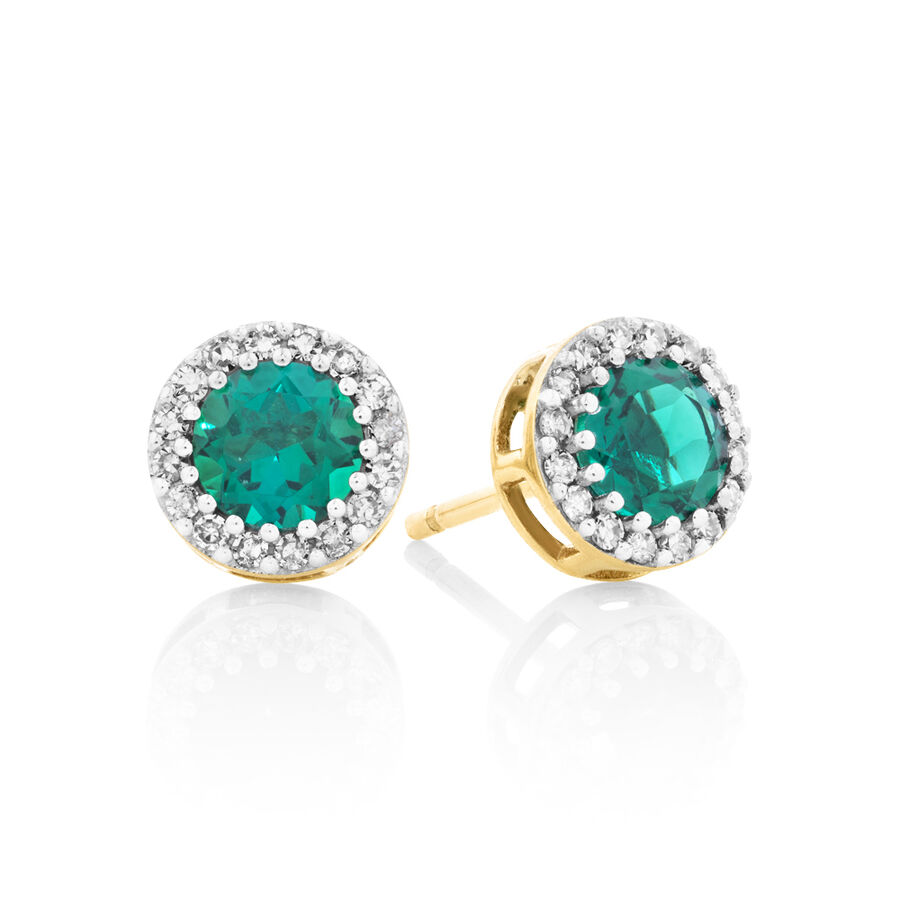 Halo Stud Earrings With Diamonds And Created Emerald In 10ct Yellow Gold
