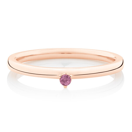 Stacker Ring with Pink Tourmaline in 10ct Rose Gold
