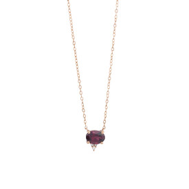 Necklace With Diamonds And Rhodolite Garnet In 10ct Rose Gold