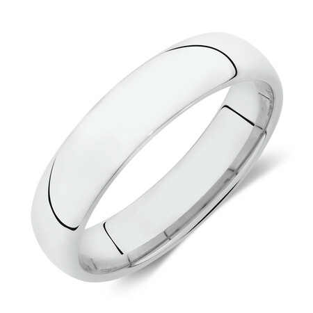 High Domed Wedding Band in 10ct White Gold