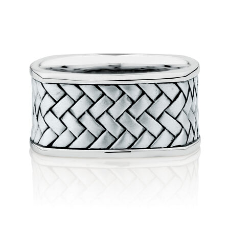 11mm Patterned Ring In Sterling Silver