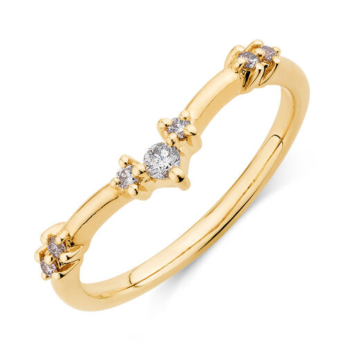 Chevron Stacker Ring with 0.12 Carat TW of Diamonds in 10ct Yellow Gold