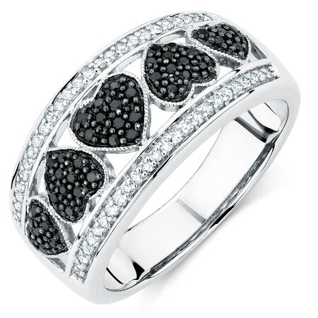 Ring with 0.33 Carat TW of White &  Enhanced Black Diamonds in Sterling Silver