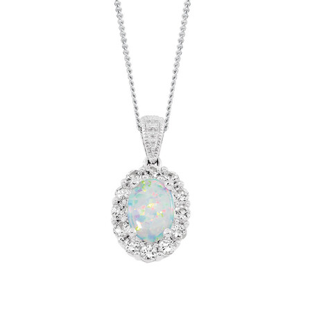 Pendant with Created Opal & Created White Sapphire in Sterling Silver