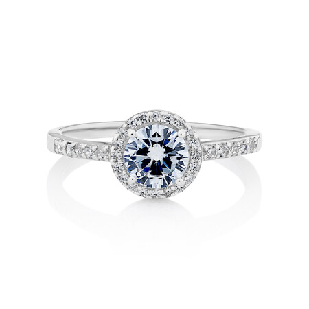 Halo Ring with Cubic Zirconia in Sterling Silver