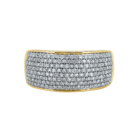 Pave Ring with 1 Carat TW of Diamonds in 10ct Yellow Gold