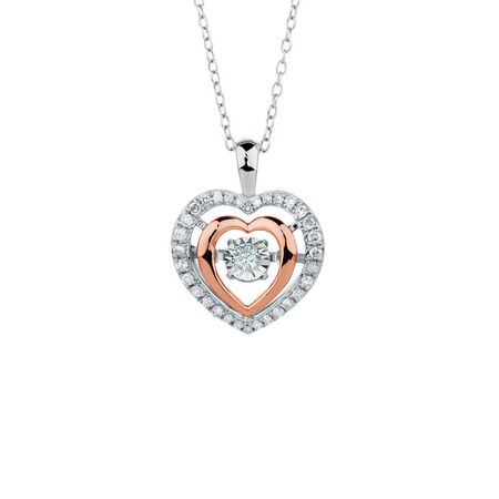 Everlight Pendant with 1/4 Carat TW of Diamonds in 10ct Rose Gold & Sterling Silver