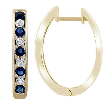 Huggie Earrings with Created Sapphire & Diamond in 10ct Yellow Gold