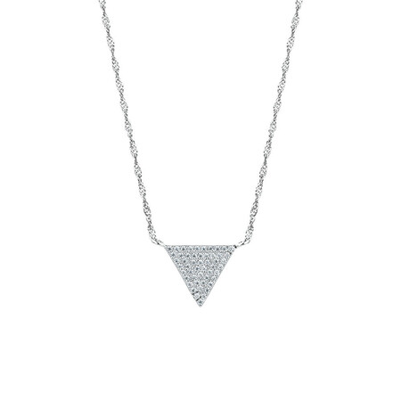 Triangle Pendant with Cubic Zirconia in Sterling Silver