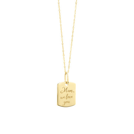 Engraved Tag Pendant in 10ct Yellow Gold