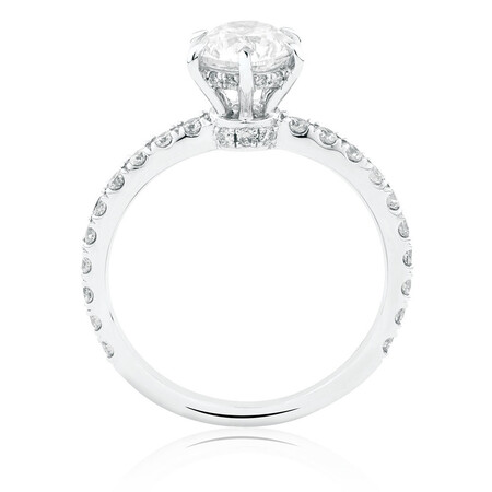Sir Michael Hill Designer GrandAria Engagement Ring With 1.42 Carat TW Of Diamonds In 14ct White & Rose Gold