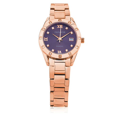Ladies Watch with Diamonds in Rose Tone Stainless Steel