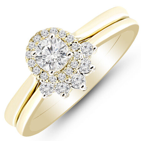 Bridal Set with 1/2 Carat TW of Diamonds in 10ct Yellow Gold