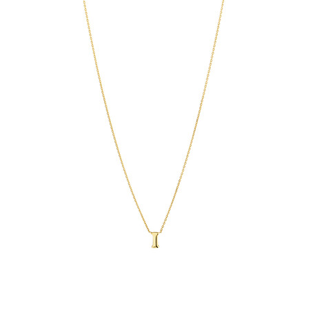 """I"" Initial Necklace in 10ct Yellow Gold"