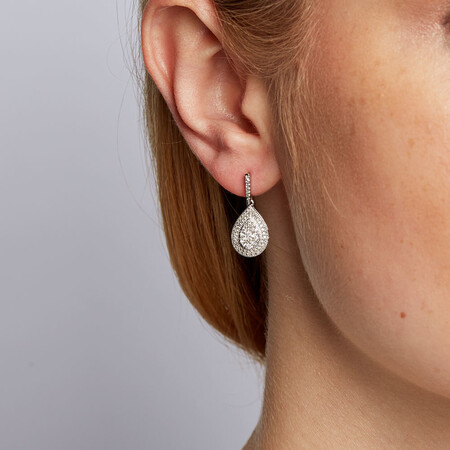 Drop Earrings with 1/2 Carat TW of Diamonds in 10ct White Gold