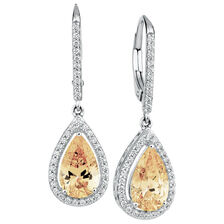 Drop Earrings with Amber & White Cubic Zirconia in Sterling Silver