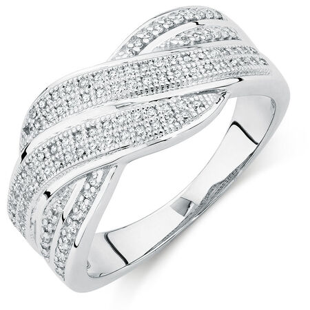 Ring with 0.30 Carat TW of Diamonds in 10ct White Gold